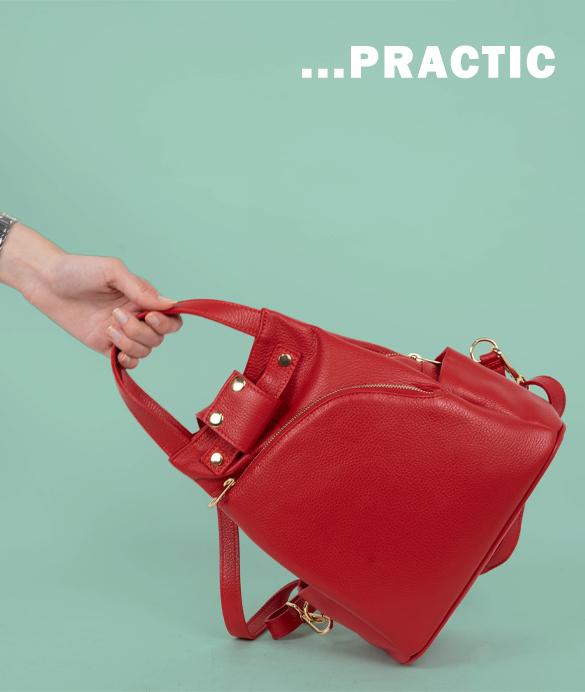 Rucsac tip geanta piele rosie