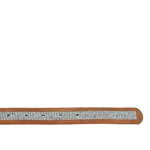 Curea piele naturala maro deschis cu strasuri CF054