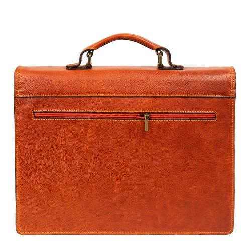Geanta piele maro oranj GB175