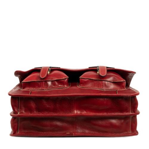 Geanta piele rosu inchis tip servieta GB181