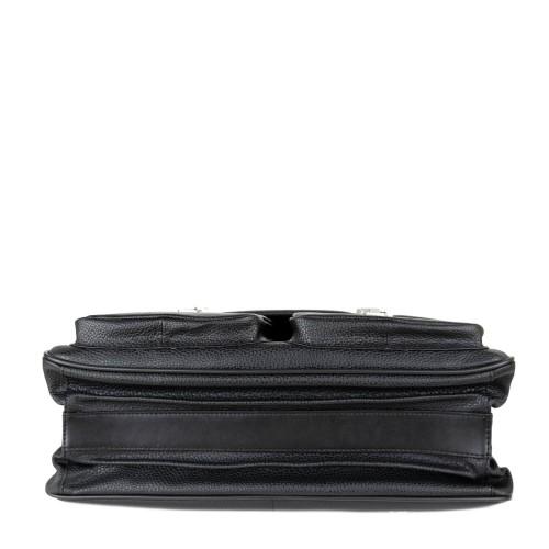 Geanta piele naturala texturata neagra GB215