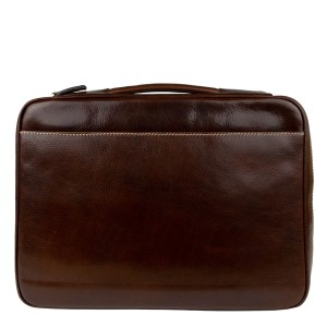 Geanta tip servieta piele naturala maro inchis GB219