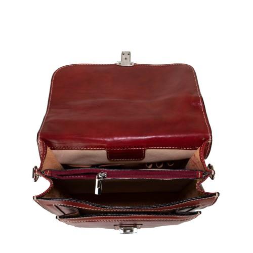 Geanta barbati piele naturala rosu inchis GB221