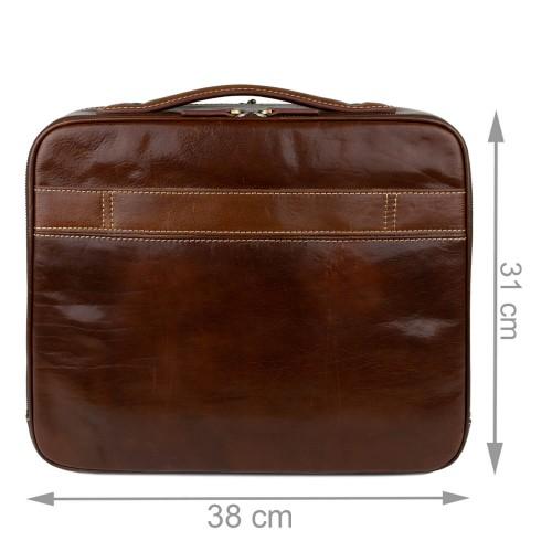 Geanta piele maro inchis tip servieta GB225