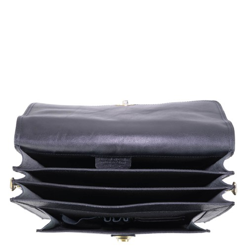 Geanta piele texturata neagra GB133
