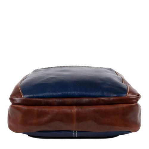 Rucsac piele bleumarin cu maro GB150