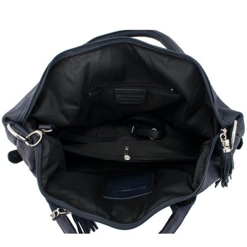 Geanta piele neagra cu ciucuri Model GF060 Genti Femei