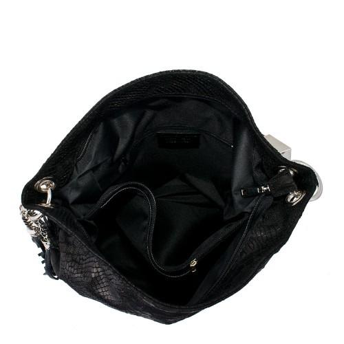 Geanta piele neagra cu imprimeu GF072