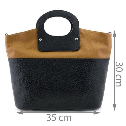 Geanta piele negru/ maro GF083