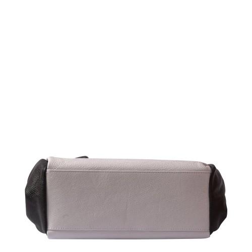 Geanta piele alb/ negru Model GF090 Genti