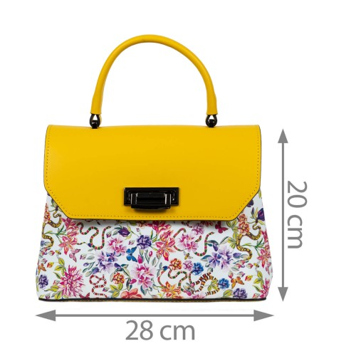 Geanta dama piele galben/flori multicolor GF1573