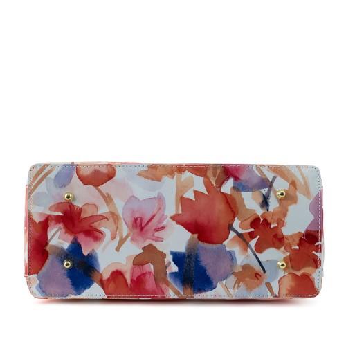 Geanta piele alba cu imprimeu floral  GF159
