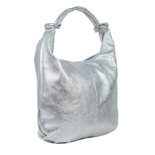 Geanta piele argintiu sidefat dama GF1597