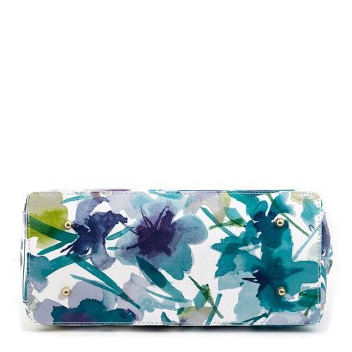 Geanta piele alba cu imprimeu floral GF160