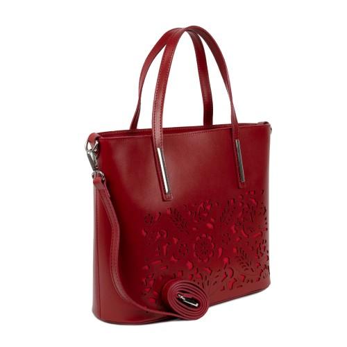 Geanta piele rosie imprimeu GF1619