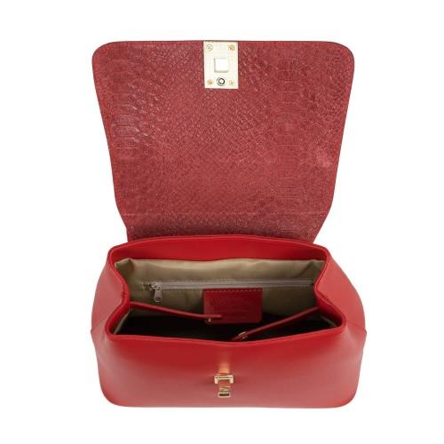 Rucsac piele rosu imprimeu sarpe GF1635