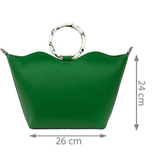 Geanta dama piele naturala verde GF1649