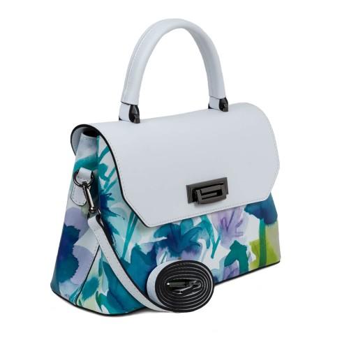 Geanta piele alba imprimeu floral turcoaz GF1658
