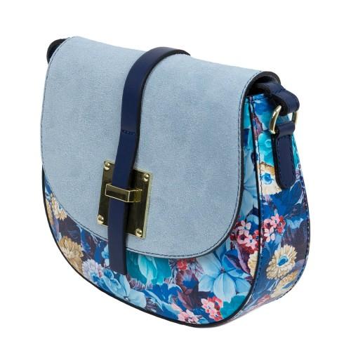 Gentuta piele albastra imprimeu floral GF1673