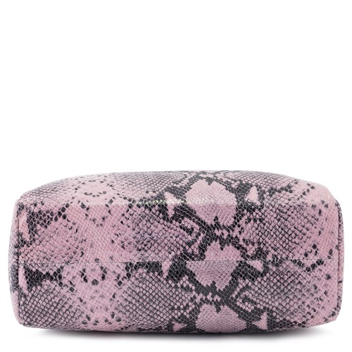 Geanta piele roz/ negru cu imprimeu  GF168