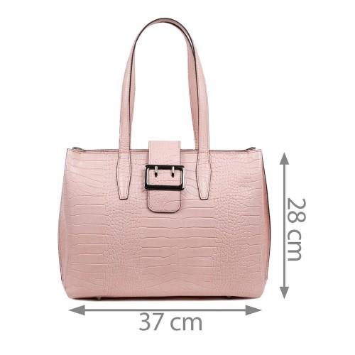 Geanta dama piele roz imprimeu GF1717