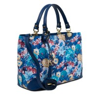 Geanta piele albastra imprimeu floral GF1718