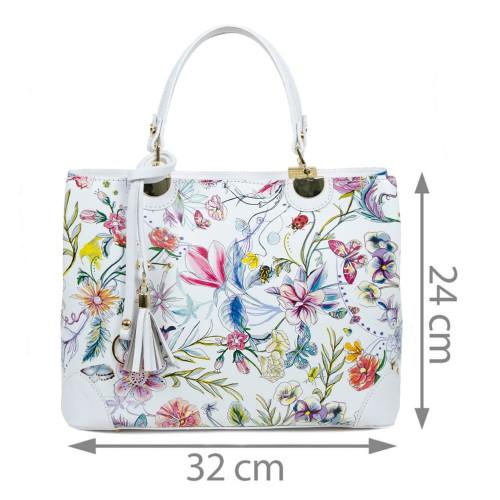 Geanta piele alba imprimeu floral GF1722