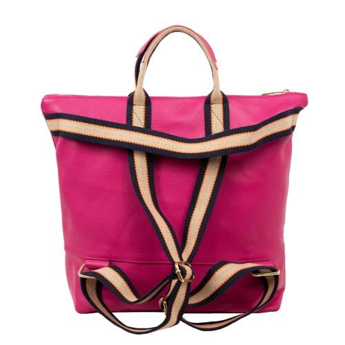 Geanta tip rucsac piele naturala roz GF1742