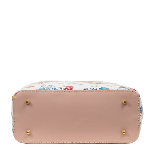 Geanta piele roz pal imprimeu floral GF1756