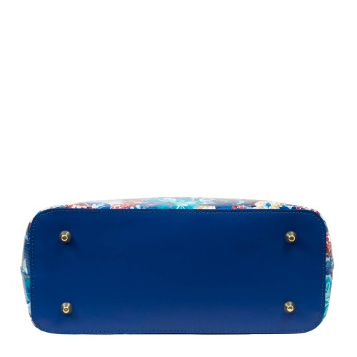 Geanta piele imprimeu floral albastru GF1757
