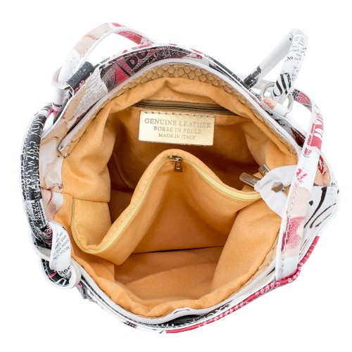 Geanta piele imprimeu ziar Model GF176 Genti