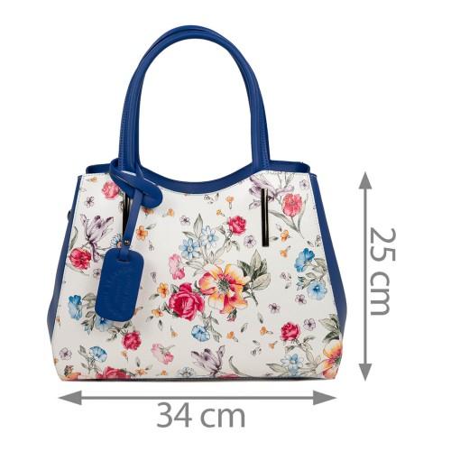 Geanta piele imprimeu floral alb/albastru GF1774