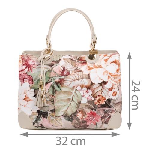 Geanta piele bej imprimeu floral GF1781