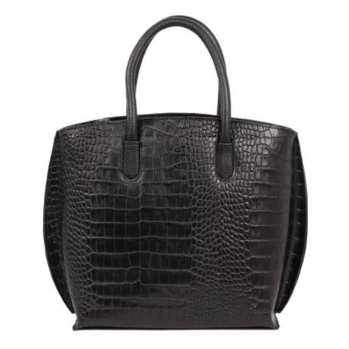 Geanta piele imprimeu crocodil negru GF1791