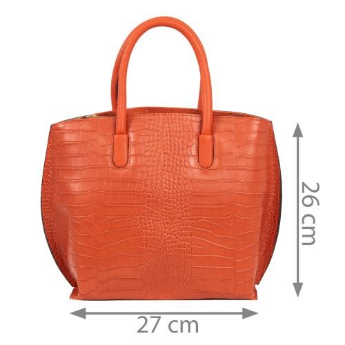 Geanta piele imprimeu crocodil oranj GF1794
