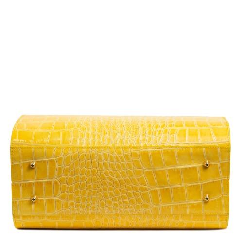 Geanta piele galbena/imprimeu crocodil GF1817