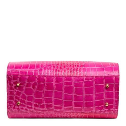 Geanta piele alb/roz/imprimeu crocodil GF1818