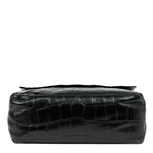 Geanta piele imprimeu crocodil/negru GF1832