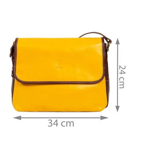 Geanta galben oranj/maro piele naturala GF1837