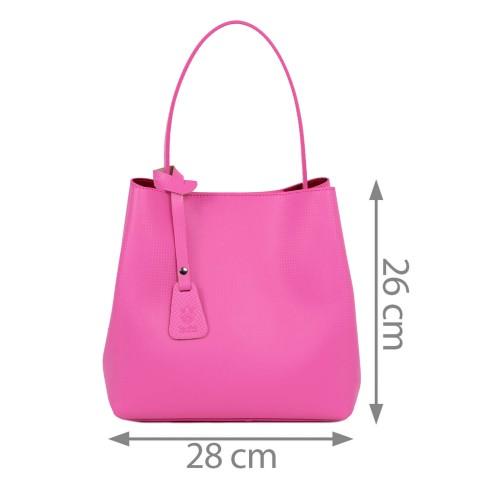 Geanta piele imprimeu roz GF1863