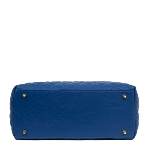 Geanta piele albastra matlasata GF1898