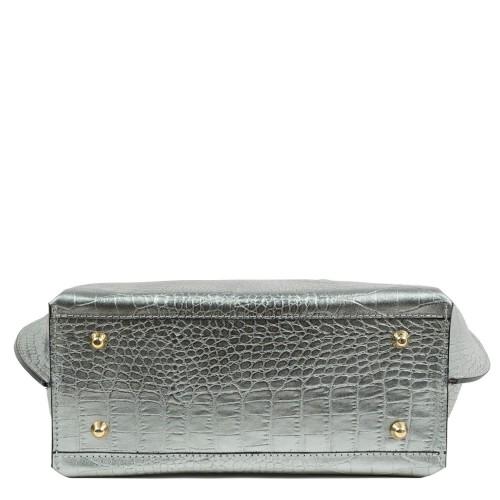Geanta dama piele imprimeu crocodil silver GF1936