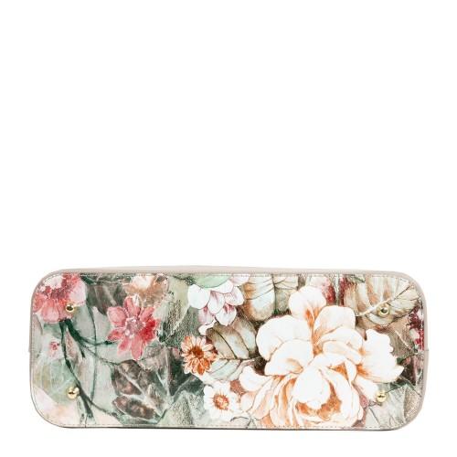Geanta piele taupe imprimeu floral GF1963