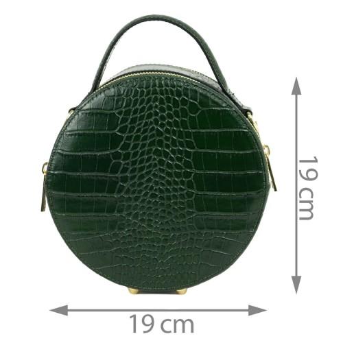 Gentuta piele verde inchis cu imprimeu GF2044