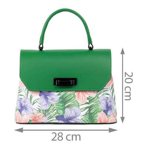 Geanta piele verde flori mari GF2087