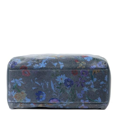 Geanta piele bleumarin cu imprimeu flori mici GF2097