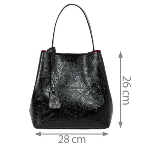 Geanta piele neagra imprimeu gravat GF2116