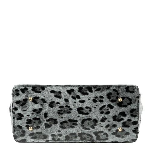 Geanta piele animal print gri negru GF2126