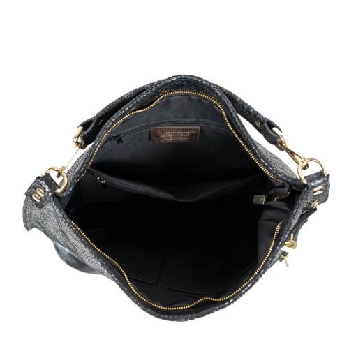 Geanta dama piele negru imprimeu sarpe GF2137