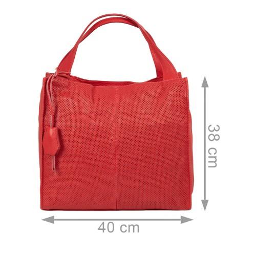 Geanta dama piele rosie perforata GF2139